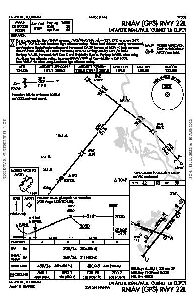 Lafayette Rgnl/Paul Fournet Fld Lafayette, LA (KLFT): RNAV (GPS) RWY 22L (IAP)