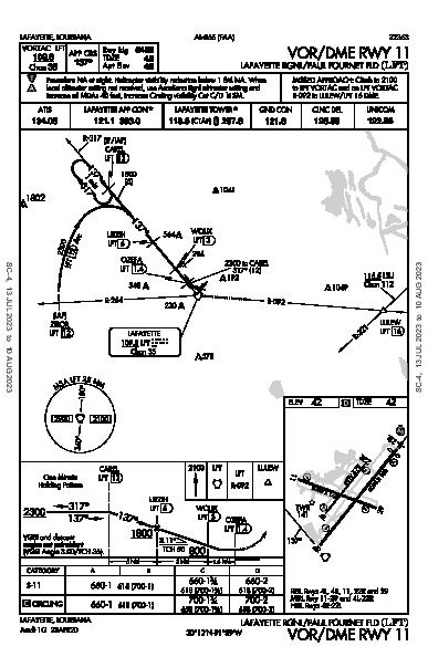 Lafayette Rgnl/Paul Fournet Fld Lafayette, LA (KLFT): VOR/DME RWY 11 (IAP)