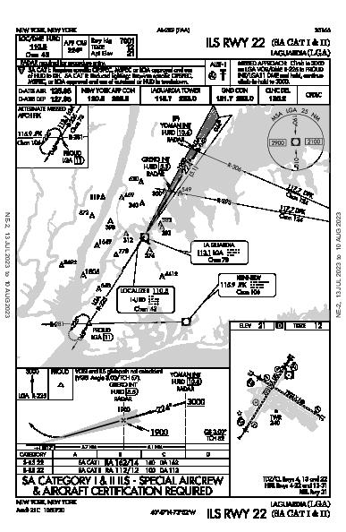 LaGuardia New York, NY (KLGA): ILS RWY 22 (SA CAT I - II) (IAP)