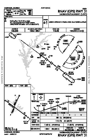 Lagrange-Callaway Lagrange, GA (KLGC): RNAV (GPS) RWY 31 (IAP)