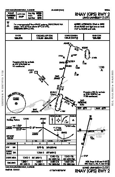 Lewis University Chicago/Romeoville, IL (KLOT): RNAV (GPS) RWY 02 (IAP)