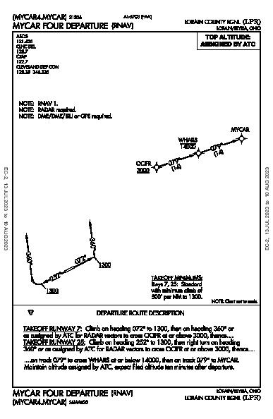 Lorain County Rgnl Lorain/Elyria, OH (KLPR): MYCAR FOUR (RNAV) (DP)