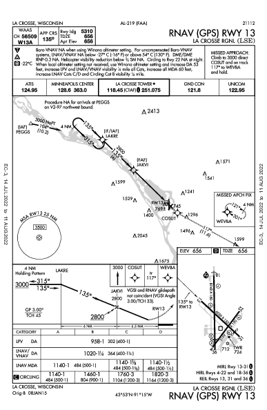 La Crosse Rgnl La Crosse, WI (KLSE): RNAV (GPS) RWY 13 (IAP)