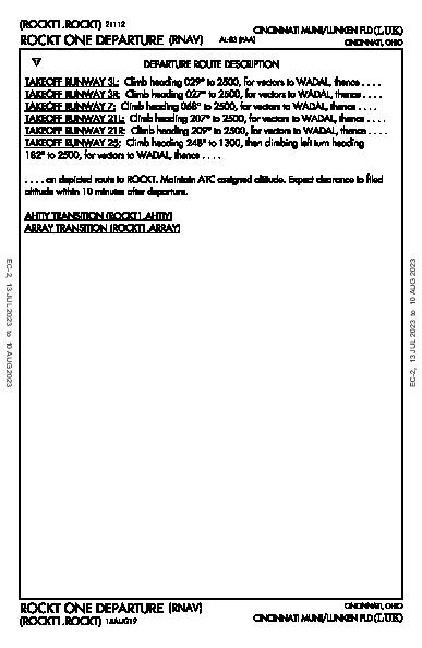Cincinnati Muni Cincinnati, OH (KLUK): ROCKT ONE (RNAV) (DP)