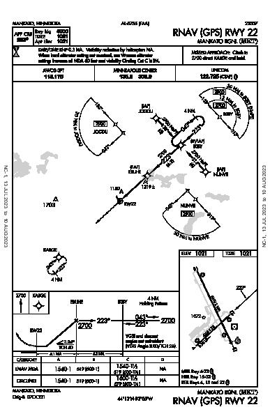 Mankato Rgnl Mankato, MN (KMKT): RNAV (GPS) RWY 22 (IAP)