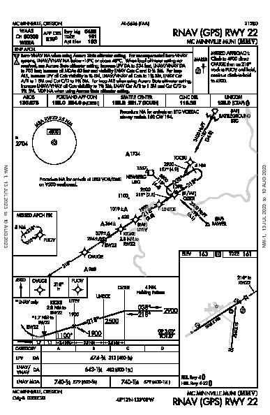 Mc Minnville Muni Mc Minnville, OR (KMMV): RNAV (GPS) RWY 22 (IAP)