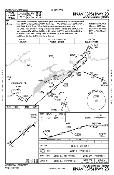 Moore-Murrell Morristown, TN (KMOR): RNAV (GPS) RWY 23 (IAP)