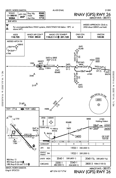 Minot Intl Minot, ND (KMOT): RNAV (GPS) RWY 26 (IAP)
