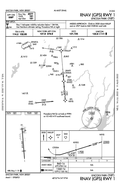Lincoln Park Lincoln Park, NJ (N07): RNAV (GPS) RWY 01 (IAP)