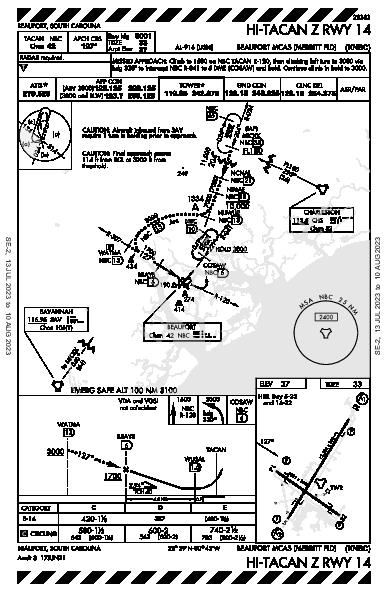Beaufort Beaufort, SC (KNBC): HI-TACAN Z RWY 14 (IAP)