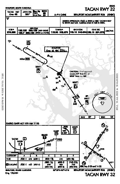 Beaufort Beaufort, SC (KNBC): TACAN RWY 32 (IAP)