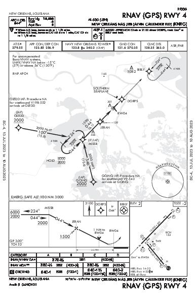 Alvin Callender Fld New Orleans, LA (KNBG): RNAV (GPS) RWY 04 (IAP)