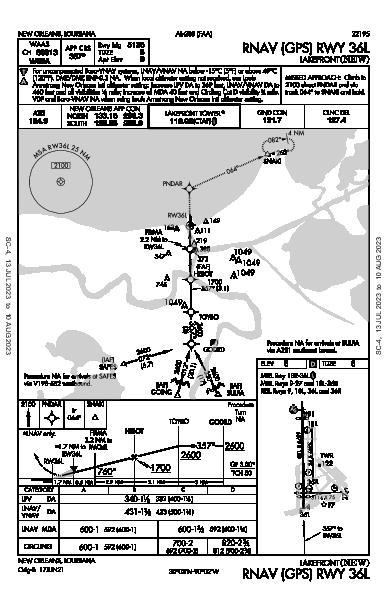 Lakefront New Orleans, LA (KNEW): RNAV (GPS) RWY 36L (IAP)