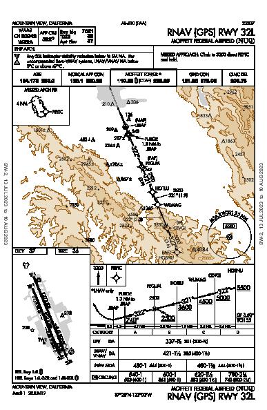 Moffett Federal Afld Mountain View, CA (KNUQ): RNAV (GPS) RWY 32L (IAP)