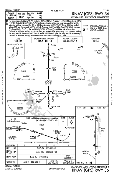 Ocala Intl Ocala, FL (KOCF): RNAV (GPS) RWY 36 (IAP)