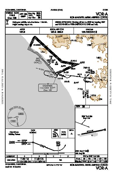 Bob Maxwell Meml Airfield Oceanside, CA (KOKB): VOR-A (IAP)