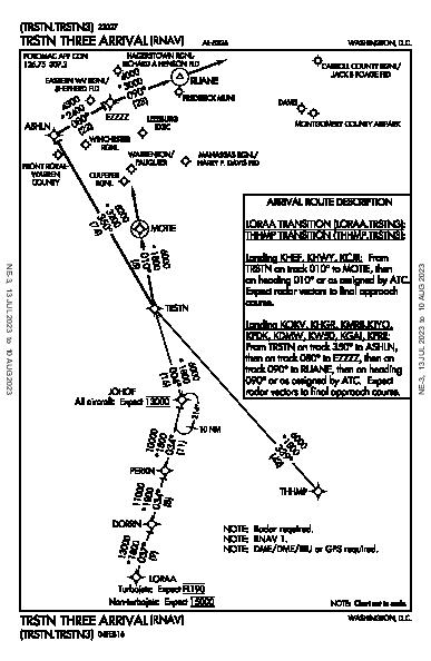 Winchester Rgnl Winchester, VA (KOKV): TRSTN THREE (RNAV) (STAR)