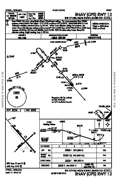 O'Neill Municipal  O'Neill, NE (KONL): RNAV (GPS) RWY 13 (IAP)
