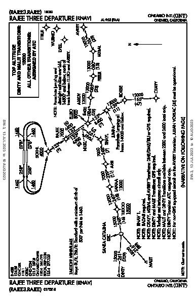 Ontario Intl Ontario, CA (KONT): RAJEE THREE (RNAV) (DP)