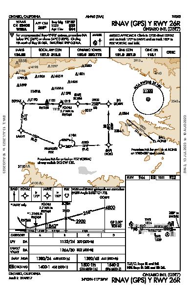 Ontario Intl Ontario, CA (KONT): RNAV (GPS) Y RWY 26R (IAP)