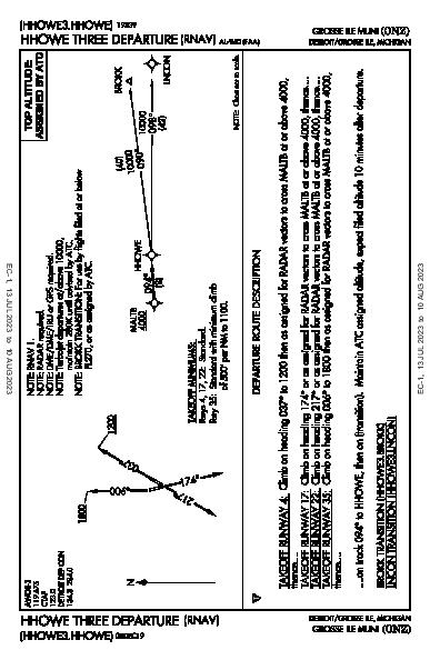 Grosse Ile Muni Detroit/Grosse Ile, MI (KONZ): HHOWE THREE (RNAV) (DP)