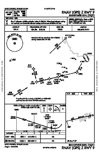 Brandywine Rgnl West Chester, PA (KOQN): RNAV (GPS) Z RWY 09 (IAP)