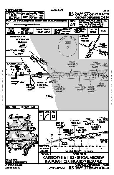 Chicago O'Hare Intl Chicago, IL (KORD): ILS RWY 27R (CAT II - III) (IAP)