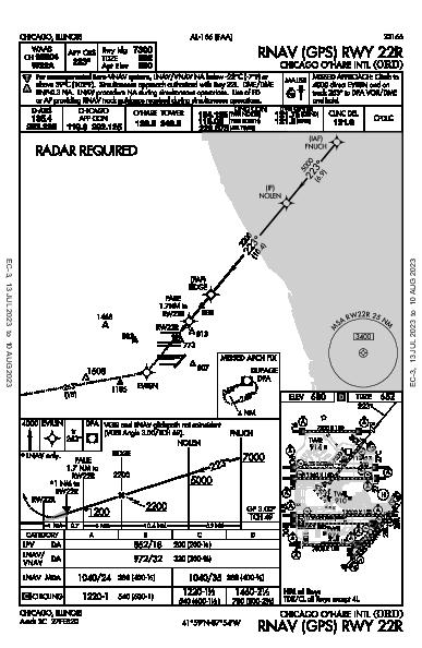 Chicago O'Hare Intl Chicago, IL (KORD): RNAV (GPS) RWY 22R (IAP)