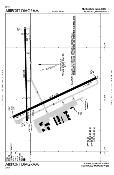 Norwood Meml Norwood, MA (KOWD): AIRPORT DIAGRAM (APD)