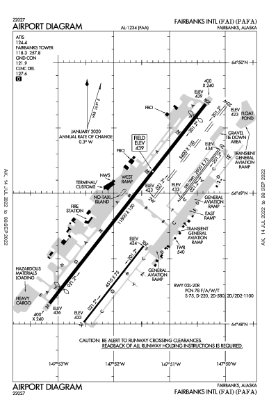 Fairbanks Intl Airport (費爾班克斯, 阿拉斯加州): PAFA Airport Diagram