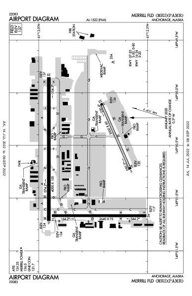 Merrill Field Airport (أنكوراج، ألاسكا): PAMR Airport Diagram
