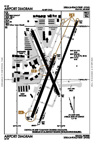 Dekalb-Peachtree Atlanta, GA (KPDK): AIRPORT DIAGRAM (APD)