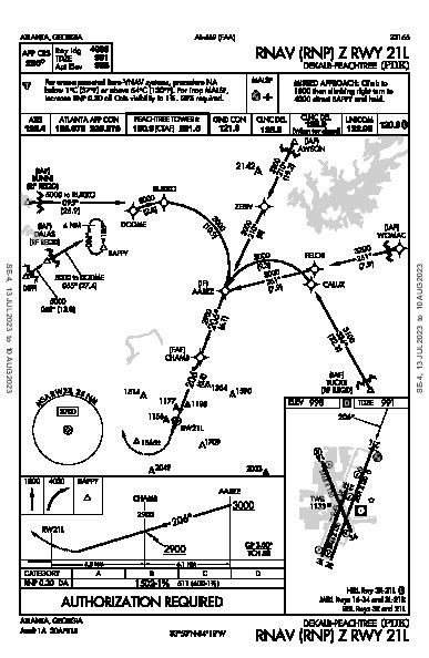 Dekalb-Peachtree Atlanta, GA (KPDK): RNAV (RNP) Z RWY 21L (IAP)