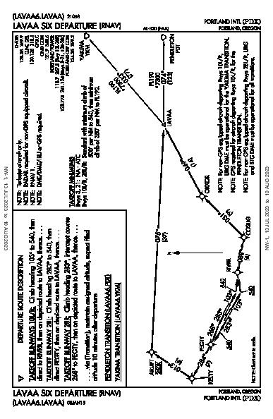 Portland Intl Portland, OR (KPDX): LAVAA SIX (RNAV) (DP)