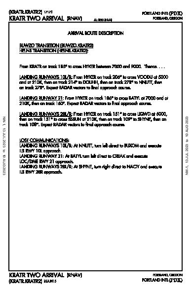 Portland Intl Portland, OR (KPDX): KRATR TWO (RNAV) (STAR)