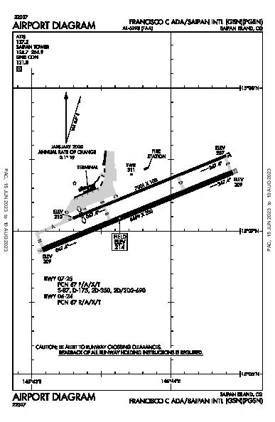 Saipan Intl Airport (Saipan Island, CQ): PGSN Airport Diagram