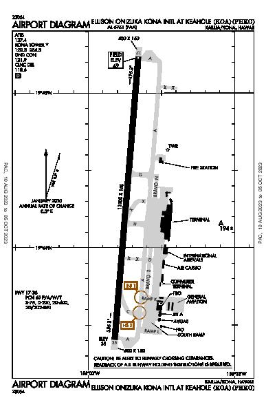 コナ国際空港 Airport (Kailua/Kona, HI): PHKO Airport Diagram