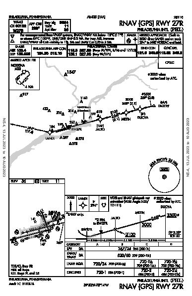 Philadelphia Intl Philadelphia, PA (KPHL): RNAV (GPS) RWY 27R (IAP)