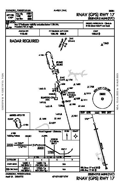 Zelienople Muni Zelienople, PA (KPJC): RNAV (GPS) RWY 17 (IAP)