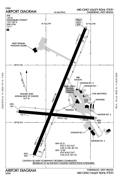 Mid-Ohio Valley Rgnl Parkersburg, WV (KPKB): AIRPORT DIAGRAM (APD)