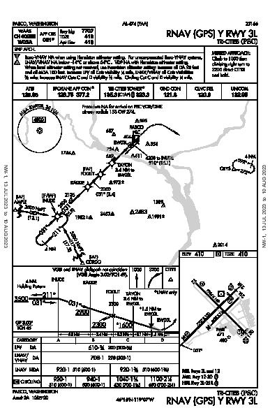 Tri-Cities Pasco, WA (KPSC): RNAV (GPS) Y RWY 03L (IAP)