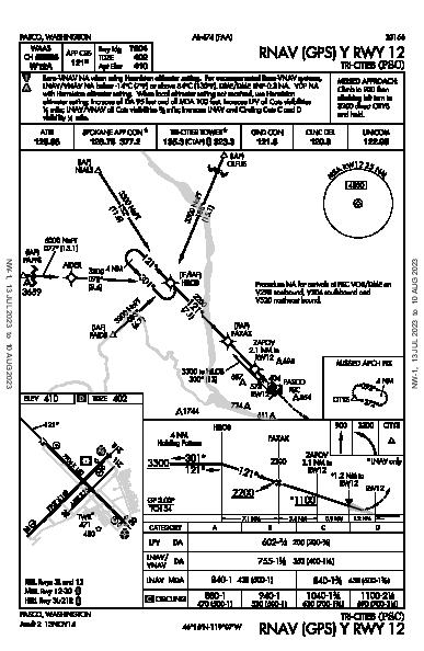 Tri-Cities Pasco, WA (KPSC): RNAV (GPS) Y RWY 12 (IAP)