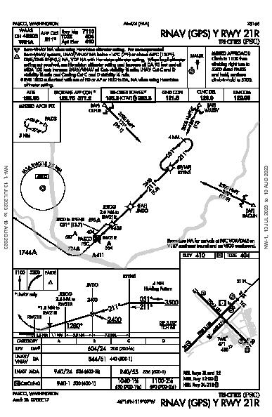 Tri-Cities Pasco, WA (KPSC): RNAV (GPS) Y RWY 21R (IAP)