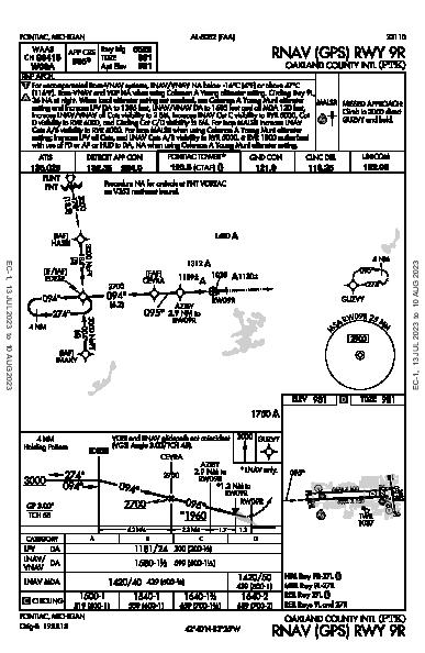 Oakland County Intl Pontiac, MI (KPTK): RNAV (GPS) RWY 09R (IAP)