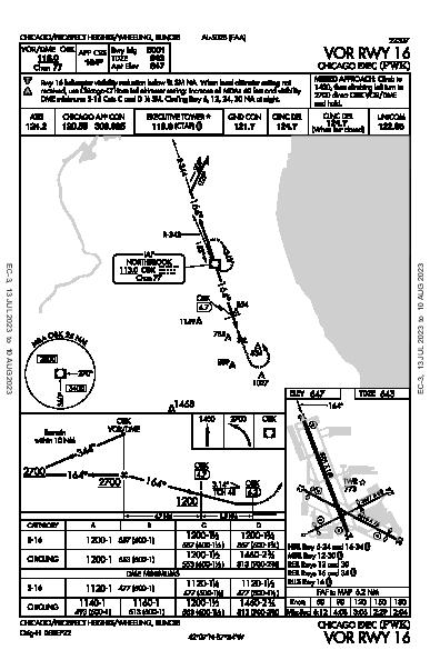 Chicago Exec Chicago/Prospect Heights/Wheeling, IL (KPWK): VOR RWY 16 (IAP)