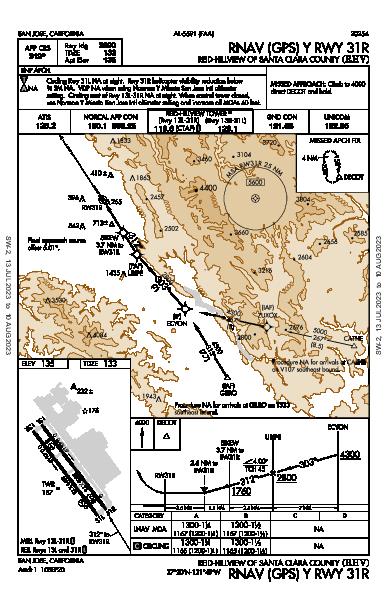 Santa Clara County San Jose, CA (KRHV): RNAV (GPS) Y RWY 31R (IAP)