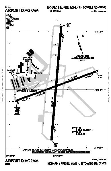 Richard B Russell Rgnl - J H Towers Fld Rome, GA (KRMG): AIRPORT DIAGRAM (APD)