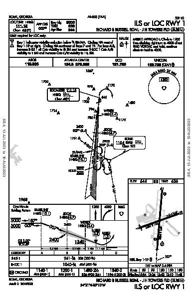 Richard B Russell Rgnl - J H Towers Fld Rome, GA (KRMG): ILS OR LOC RWY 01 (IAP)