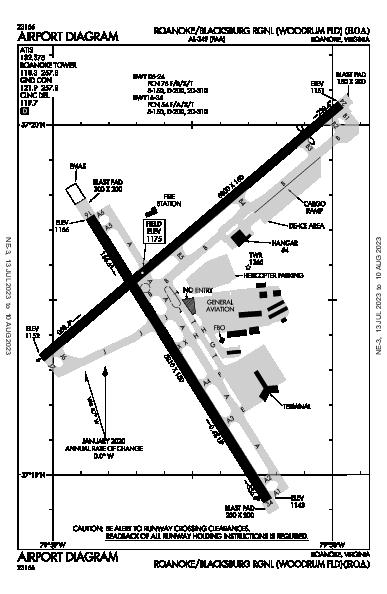 Roanoke Rgnl Roanoke, VA (KROA): AIRPORT DIAGRAM (APD)