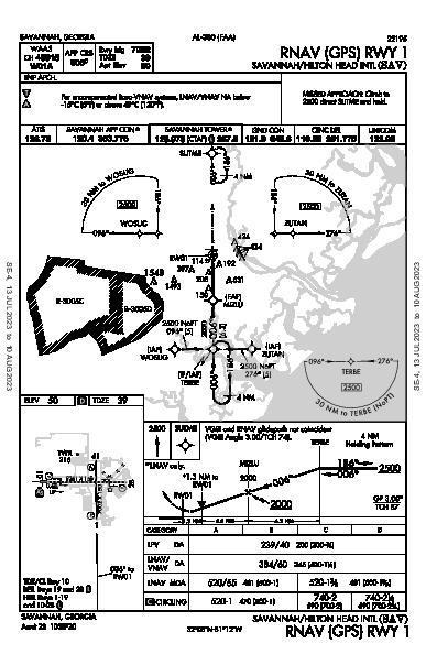 Savannah/Hilton Head Intl Savannah, GA (KSAV): RNAV (GPS) RWY 01 (IAP)